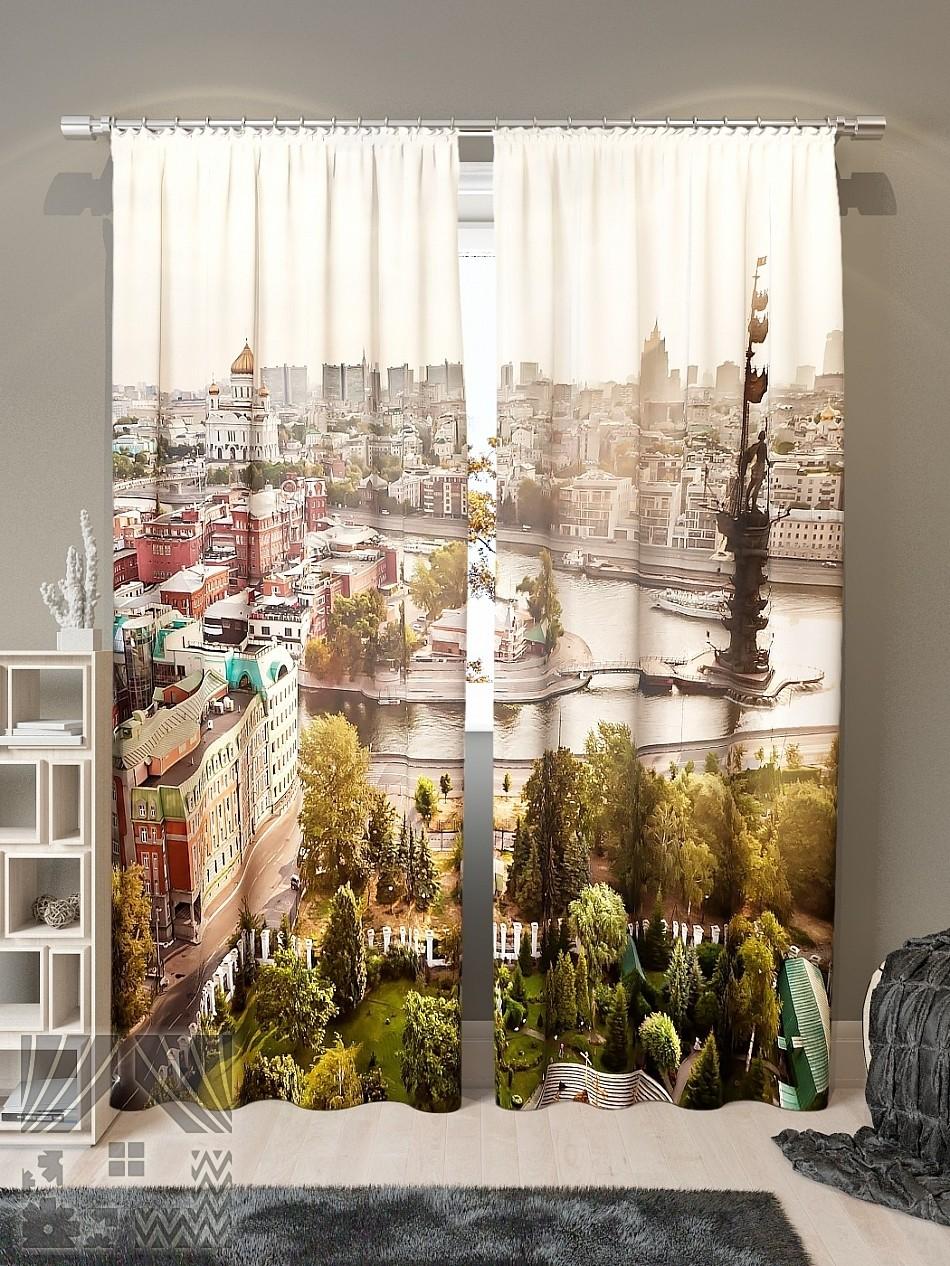 Шторы с рисунком города в интерьере фото